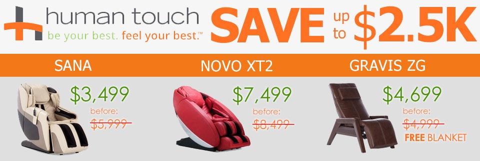 Human Touch Sana, Novo XT2, Gravis ZG, Super Novo Promo
